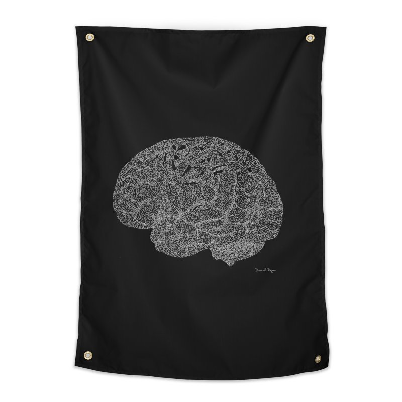 Brain WHITE Home Tapestry by Daniel Dugan's Artist Shop