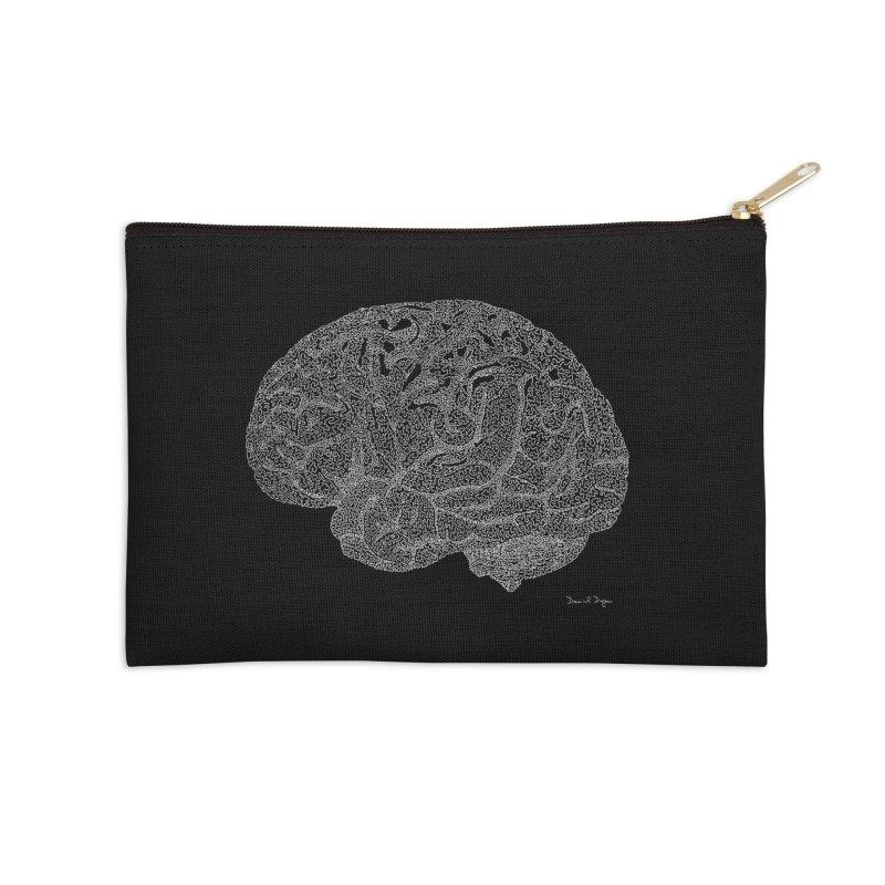 Brain WHITE Accessories Zip Pouch by Daniel Dugan's Artist Shop