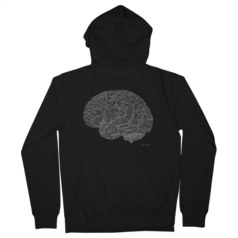 Brain WHITE Women's Zip-Up Hoody by Daniel Dugan's Artist Shop