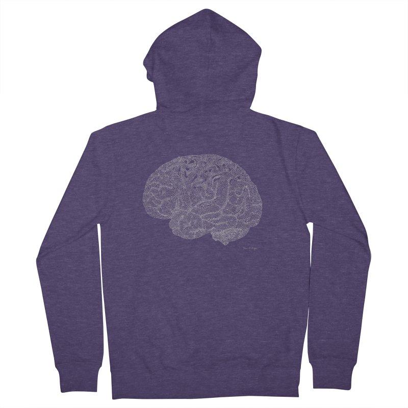 Brain WHITE Men's French Terry Zip-Up Hoody by Daniel Dugan's Artist Shop