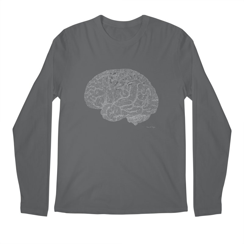 Brain WHITE Men's Longsleeve T-Shirt by Daniel Dugan's Artist Shop