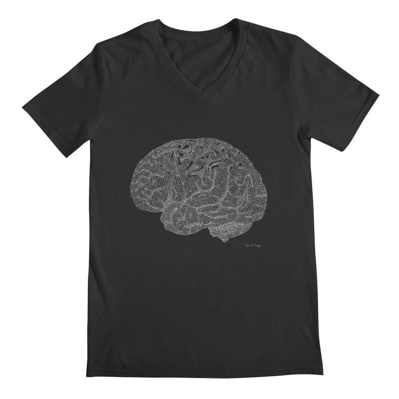 Brain WHITE Men's V-Neck by Daniel Dugan's Artist Shop