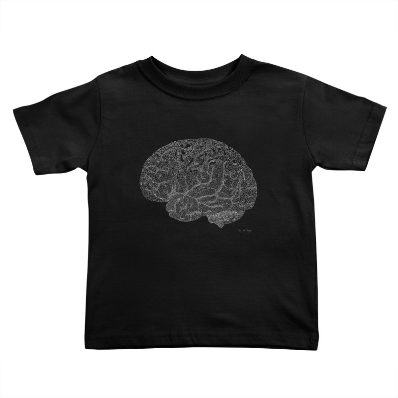 Brain WHITE Kids Toddler T-Shirt by Daniel Dugan's Artist Shop