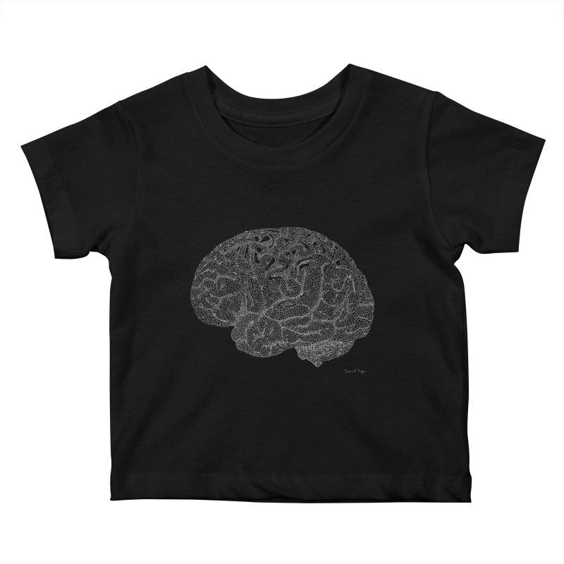 Brain WHITE Kids Baby T-Shirt by Daniel Dugan's Artist Shop