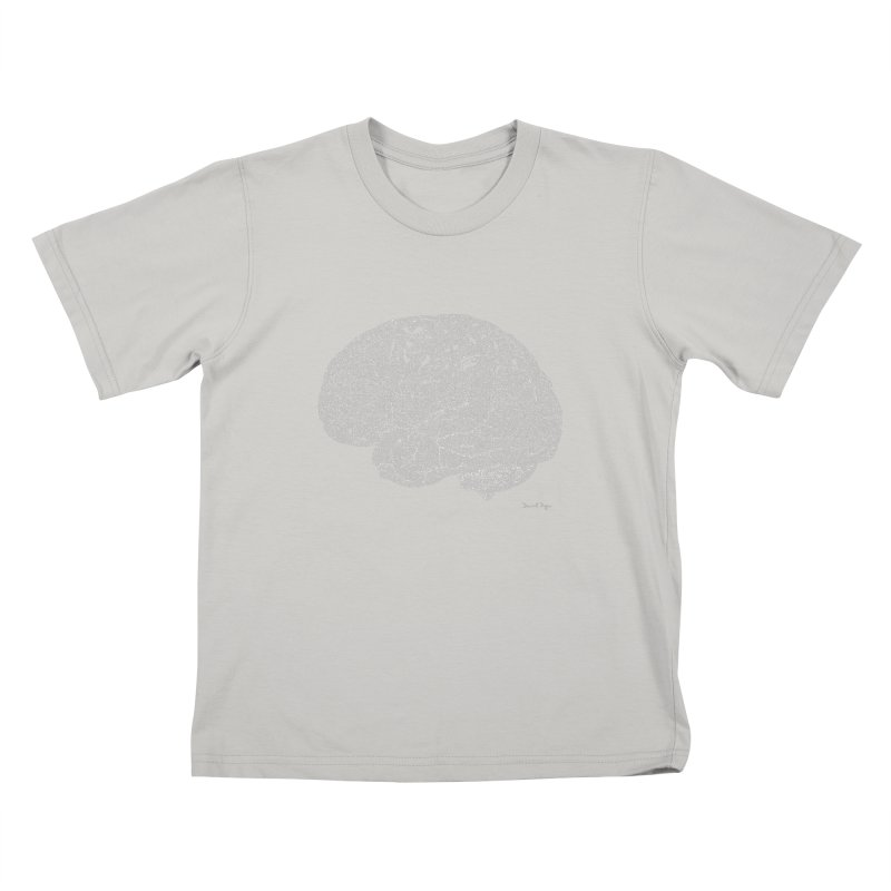 Brain WHITE Kids T-Shirt by Daniel Dugan's Artist Shop