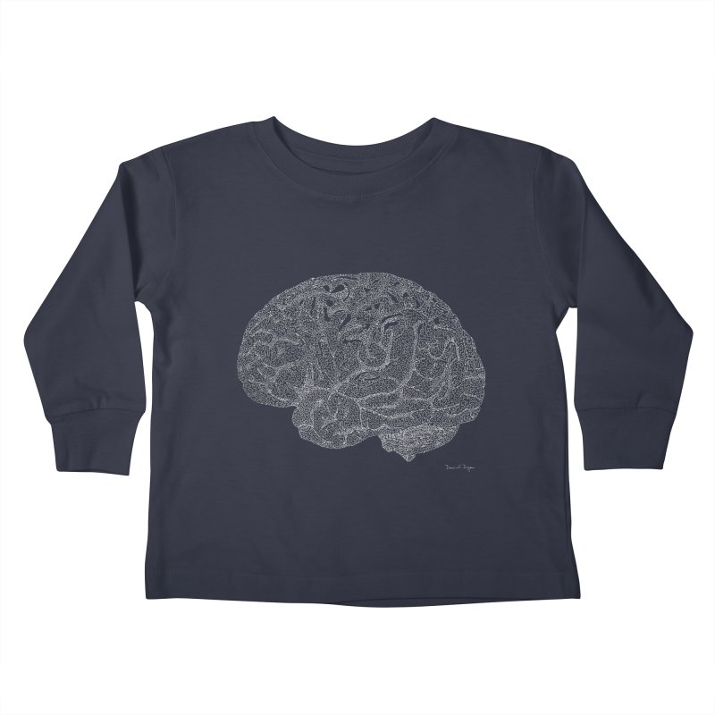 Brain WHITE Kids Toddler Longsleeve T-Shirt by Daniel Dugan's Artist Shop