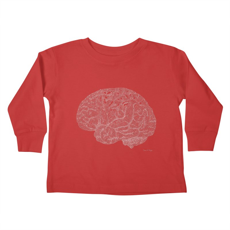 Brain WHITE Kids Toddler Longsleeve T-Shirt by Daniel Dugan's Artist Shop