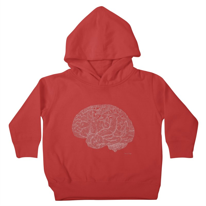 Brain WHITE Kids Toddler Pullover Hoody by Daniel Dugan's Artist Shop