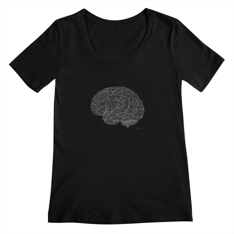 Brain WHITE Women's Scoopneck by Daniel Dugan's Artist Shop