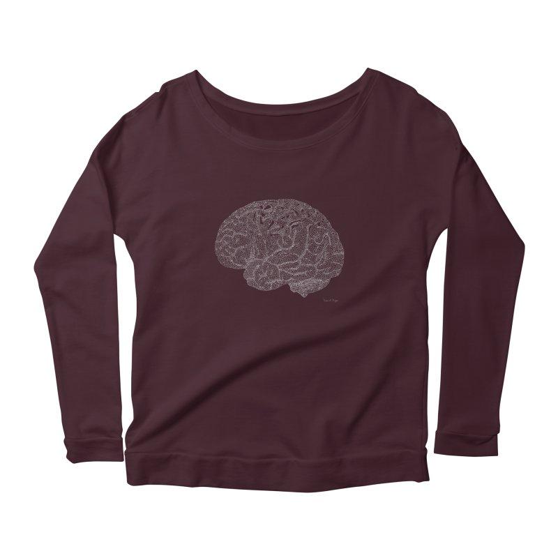 Brain WHITE Women's Longsleeve Scoopneck  by Daniel Dugan's Artist Shop