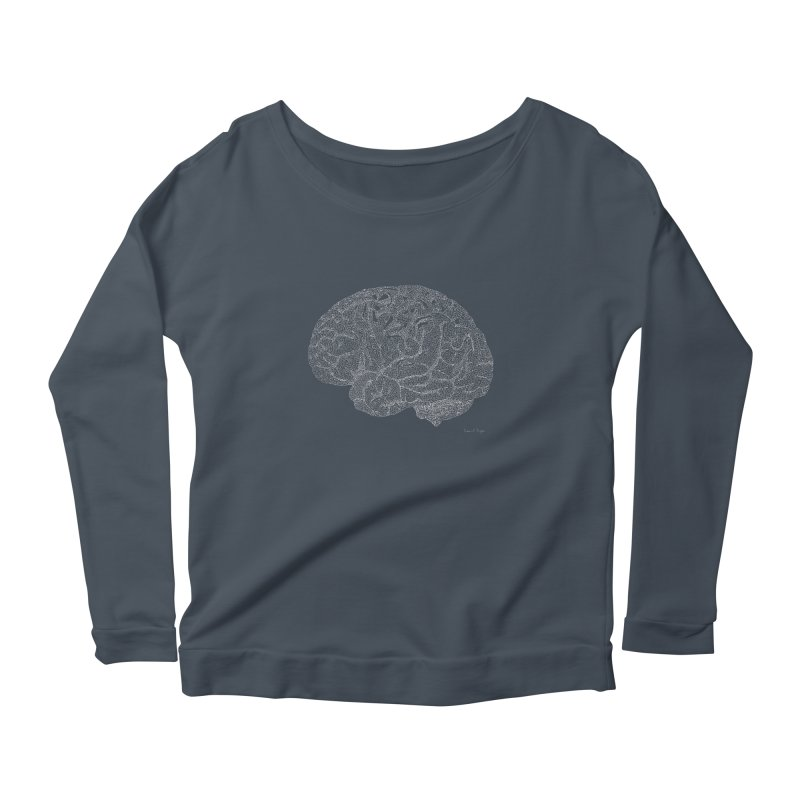 Brain WHITE Women's Longsleeve Scoopneck  by Daniel Dugan's Artist Shop