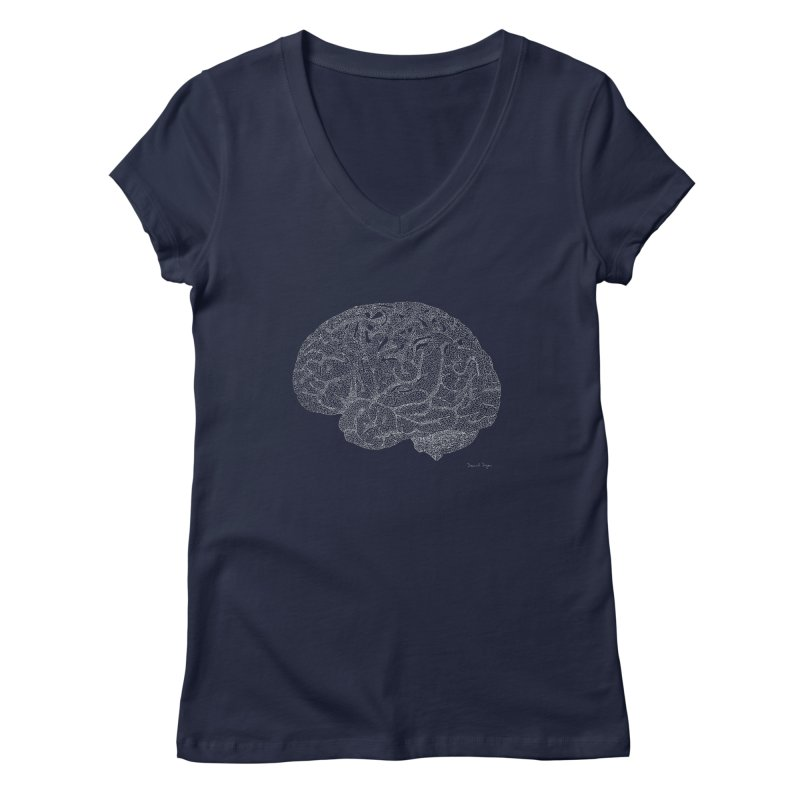 Brain WHITE Women's V-Neck by Daniel Dugan's Artist Shop