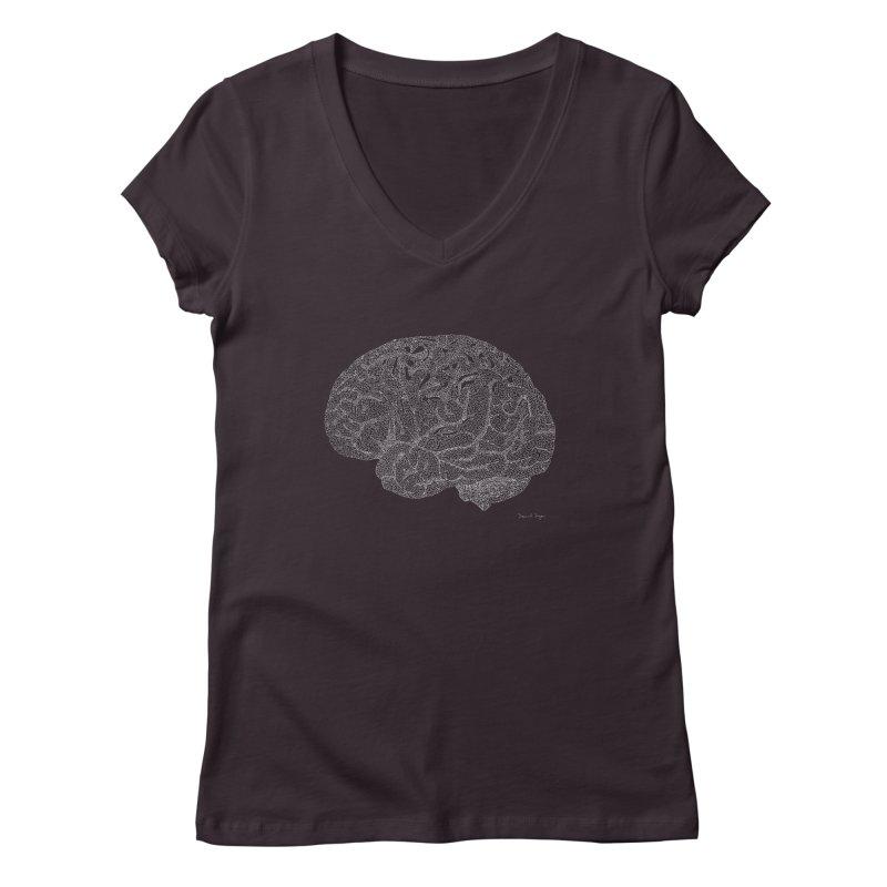 Brain WHITE Women's V-Neck by Daniel Dugan's Artist Shop