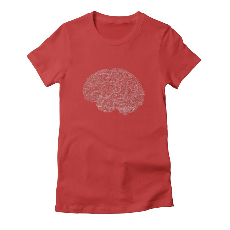 Brain WHITE Women's Fitted T-Shirt by Daniel Dugan's Artist Shop