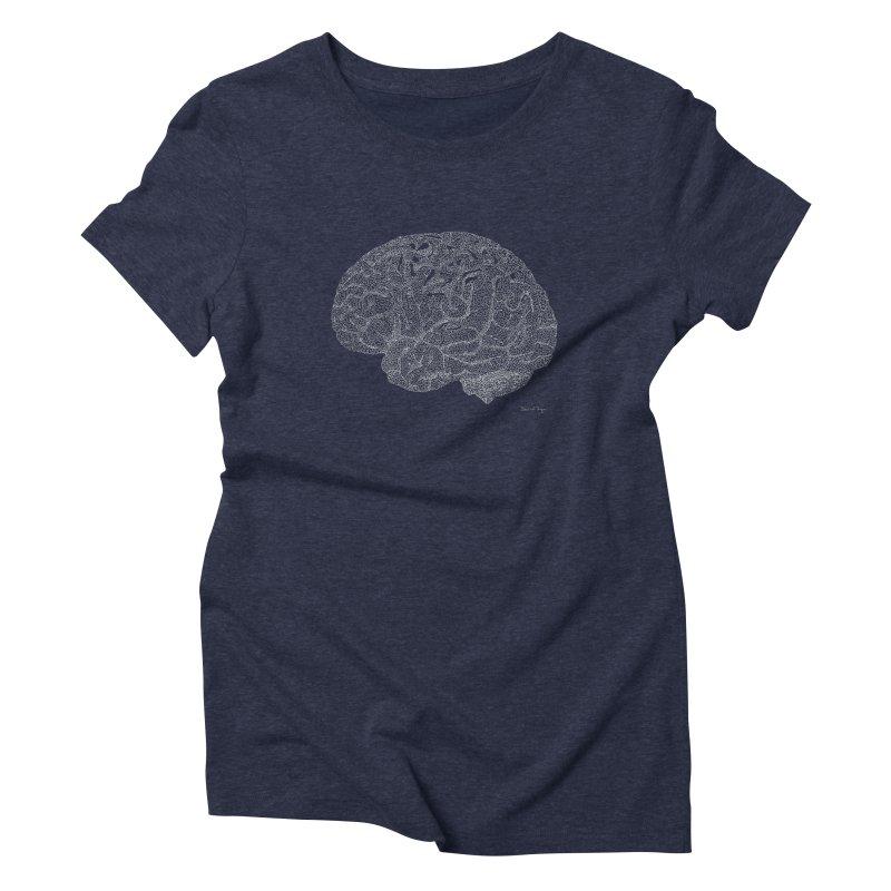 Brain WHITE Women's Triblend T-Shirt by Daniel Dugan's Artist Shop