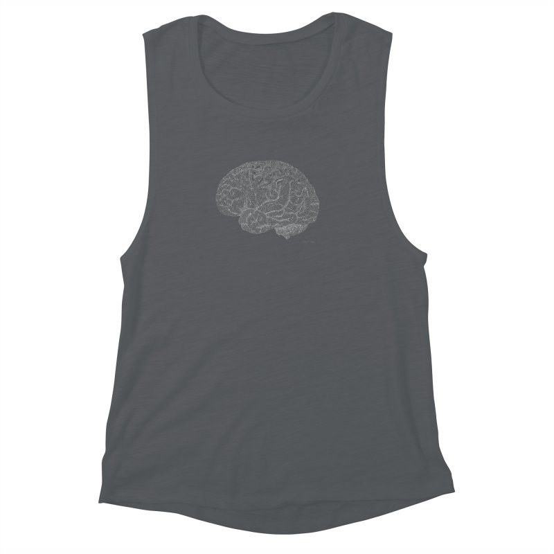 Brain WHITE Women's Muscle Tank by Daniel Dugan's Artist Shop