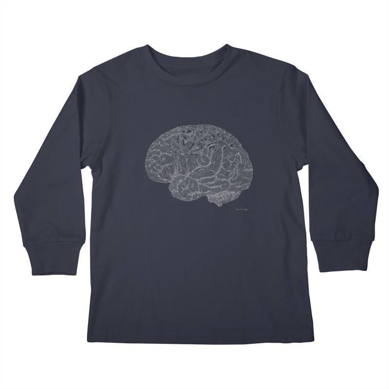 Brain WHITE Kids Longsleeve T-Shirt by Daniel Dugan's Artist Shop