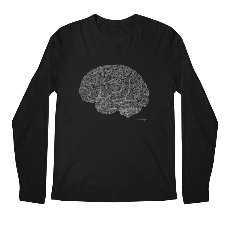 Brain (For Dark Backgrounds) Men's Longsleeve T-Shirt by Daniel Dugan's Artist Shop