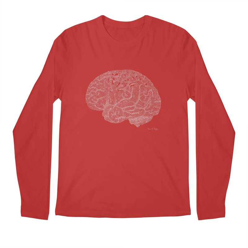 Brain (For Dark Backgrounds) Men's Longsleeve T-Shirt by Daniel Dugan's Artist Shop