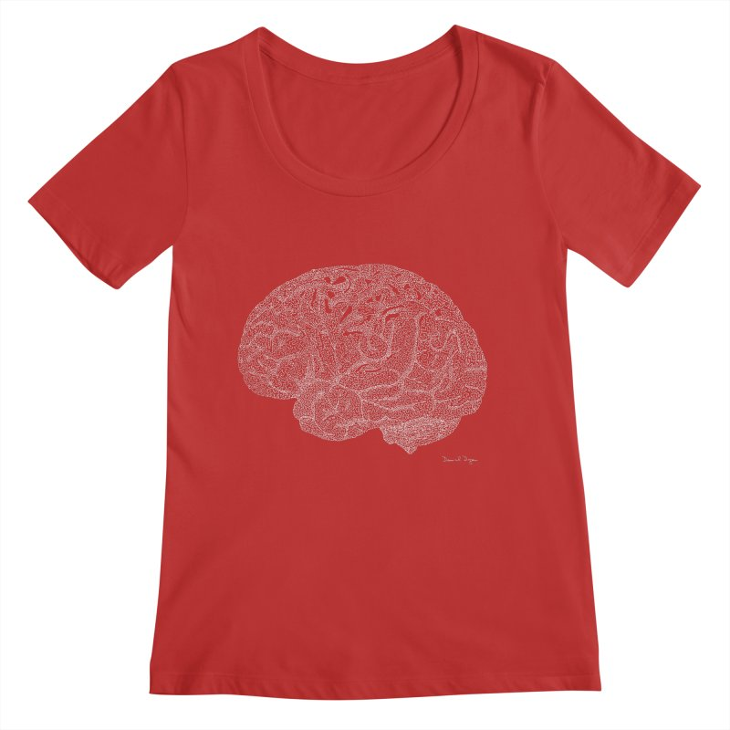 Brain (For Dark Backgrounds) Women's Scoop Neck by Daniel Dugan's Artist Shop