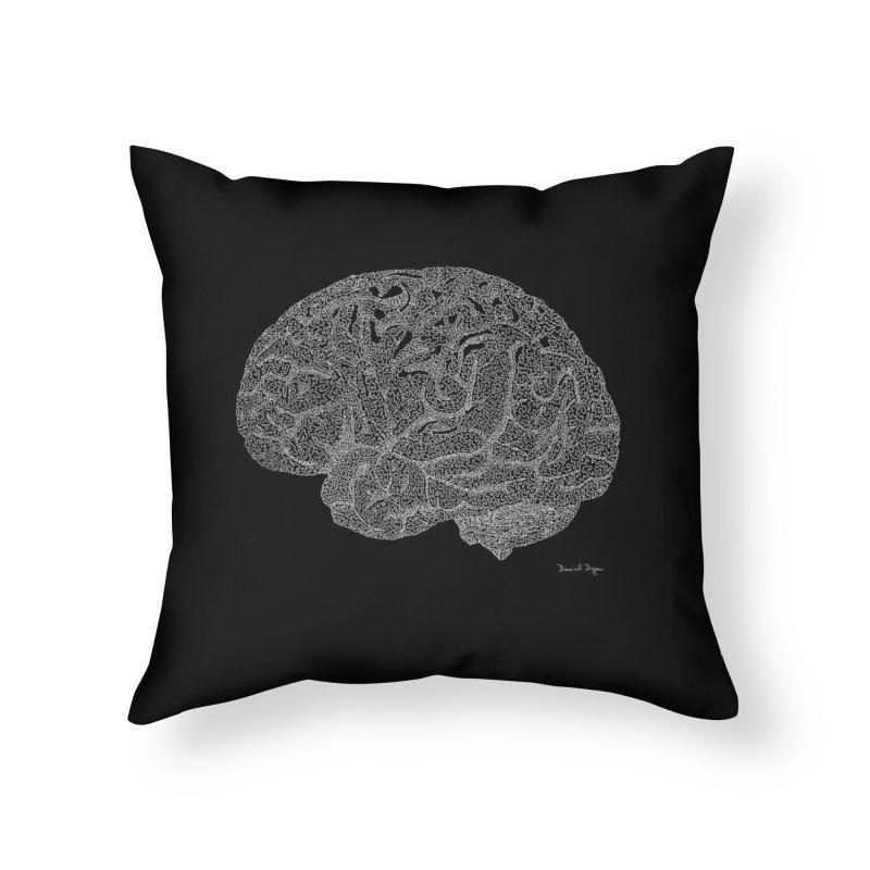 Brain WHITE Home Throw Pillow by Daniel Dugan's Artist Shop
