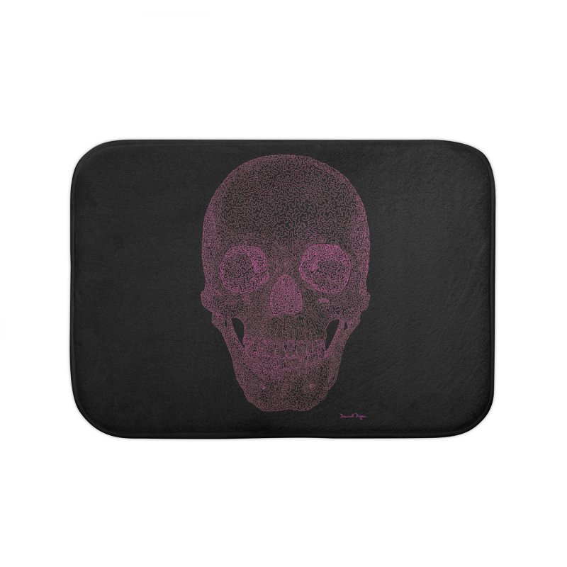 Skull PINK - One Continuous Line Home Bath Mat by Daniel Dugan's Artist Shop