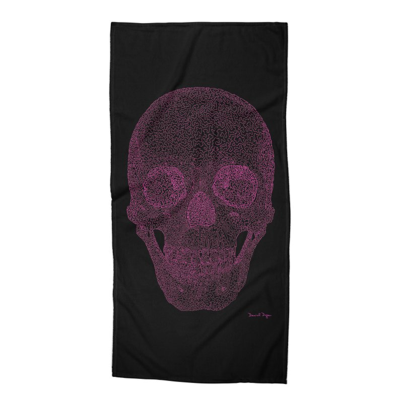 Skull PINK - One Continuous Line Accessories Beach Towel by Daniel Dugan's Artist Shop