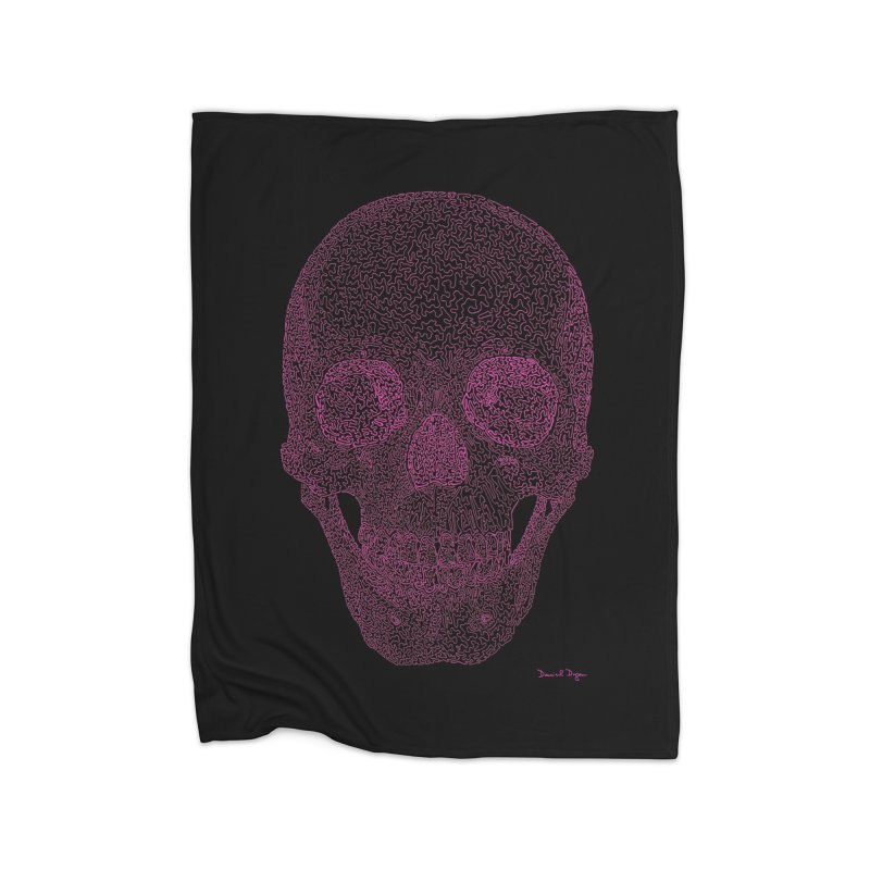 Skull PINK - One Continuous Line Home Blanket by Daniel Dugan's Artist Shop
