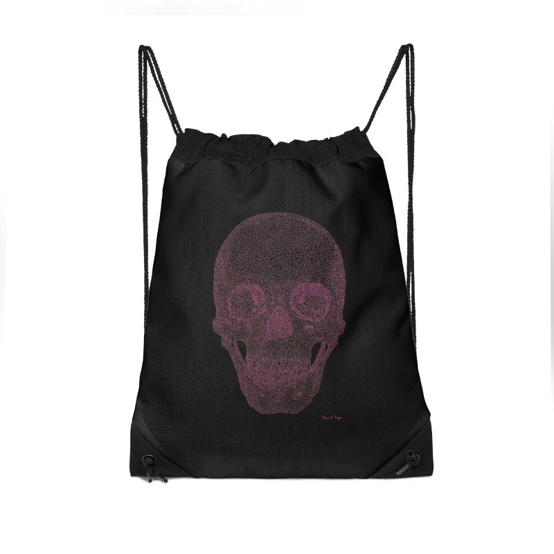 Skull PINK - One Continuous Line Accessories Drawstring Bag Bag by Daniel Dugan's Artist Shop