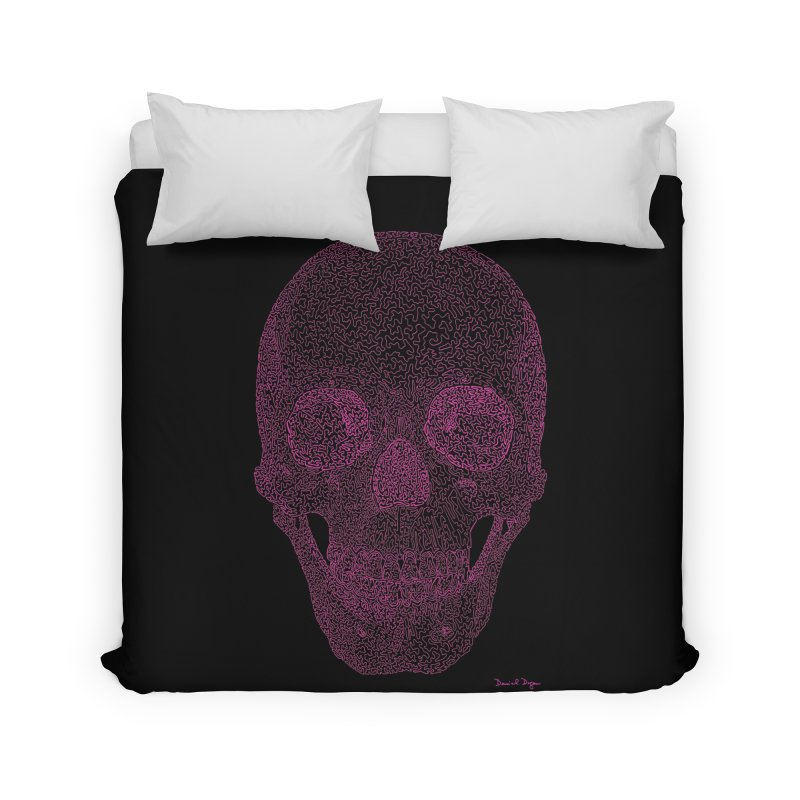 Skull PINK - One Continuous Line Home Duvet by Daniel Dugan's Artist Shop