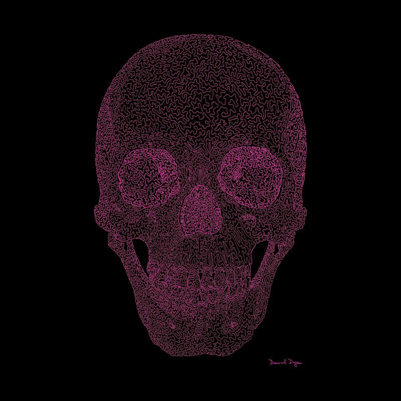 Skull PINK - One Continuous Line by Daniel Dugan's Artist Shop