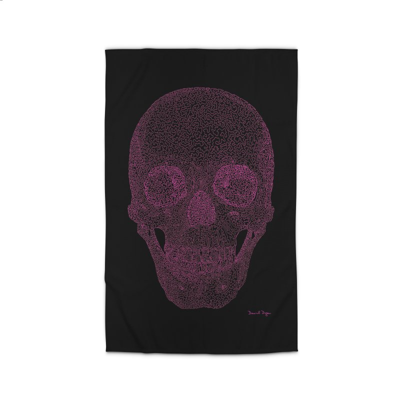 Skull PINK - One Continuous Line Home Rug by Daniel Dugan's Artist Shop