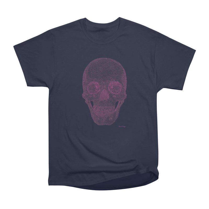 Skull PINK - One Continuous Line Men's Heavyweight T-Shirt by Daniel Dugan's Artist Shop