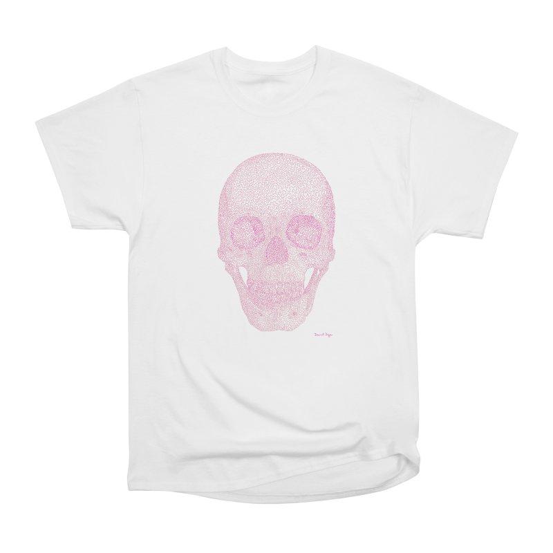 Skull PINK - One Continuous Line Women's Heavyweight Unisex T-Shirt by Daniel Dugan's Artist Shop