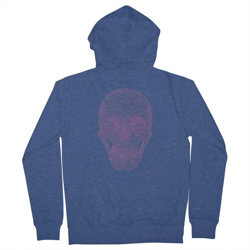 Skull PINK - One Continuous Line Women's French Terry Zip-Up Hoody by Daniel Dugan's Artist Shop