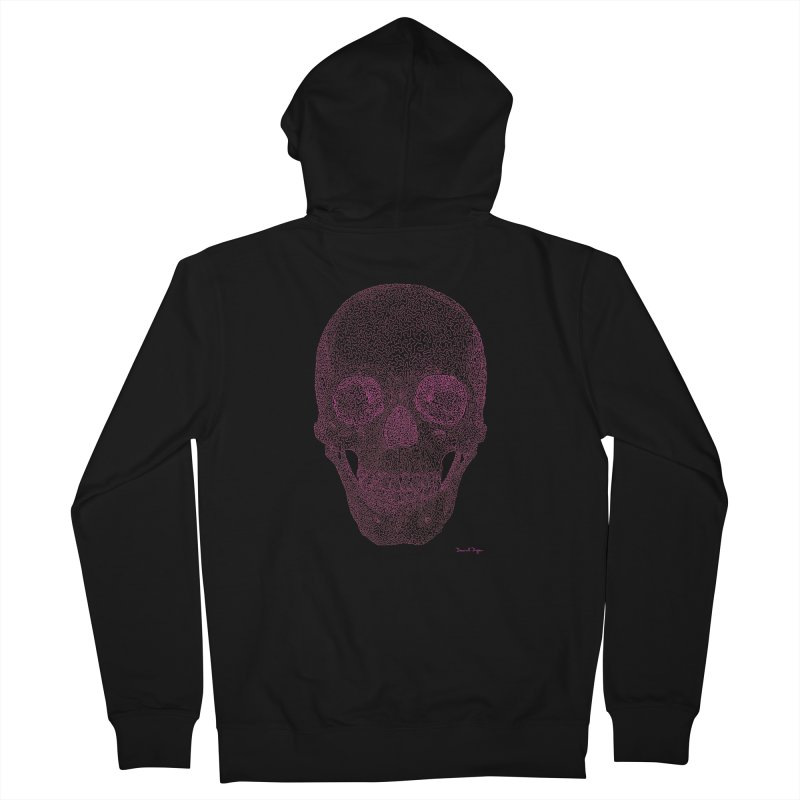 Skull PINK - One Continuous Line Women's Zip-Up Hoody by Daniel Dugan's Artist Shop