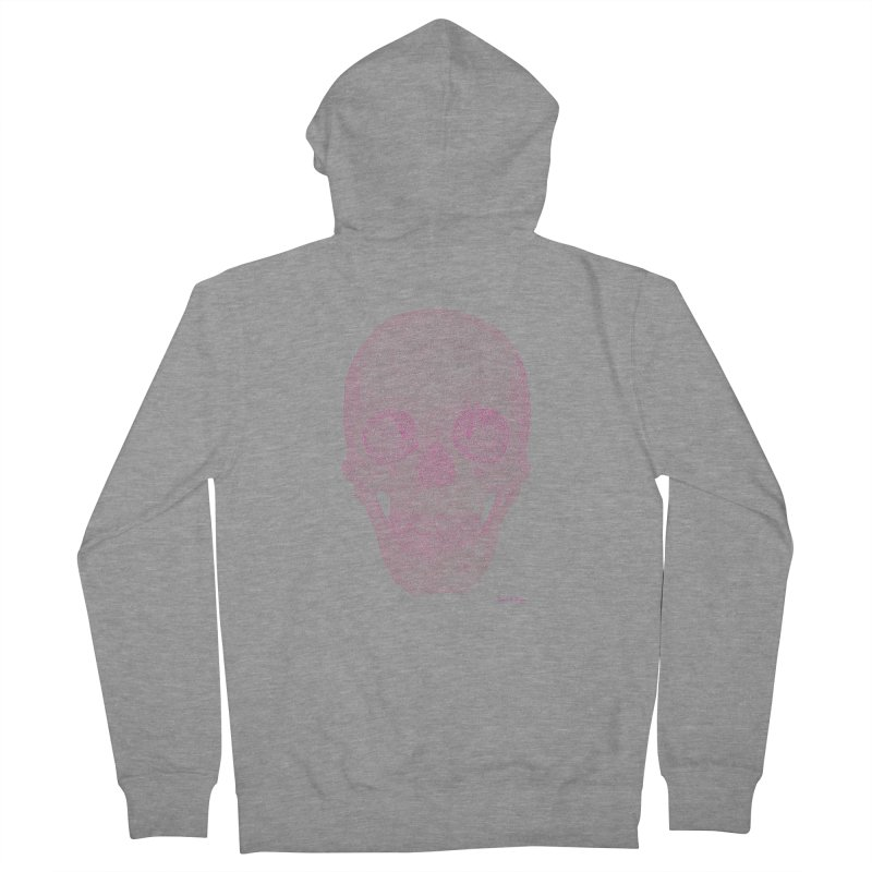 Skull PINK - One Continuous Line Men's French Terry Zip-Up Hoody by Daniel Dugan's Artist Shop