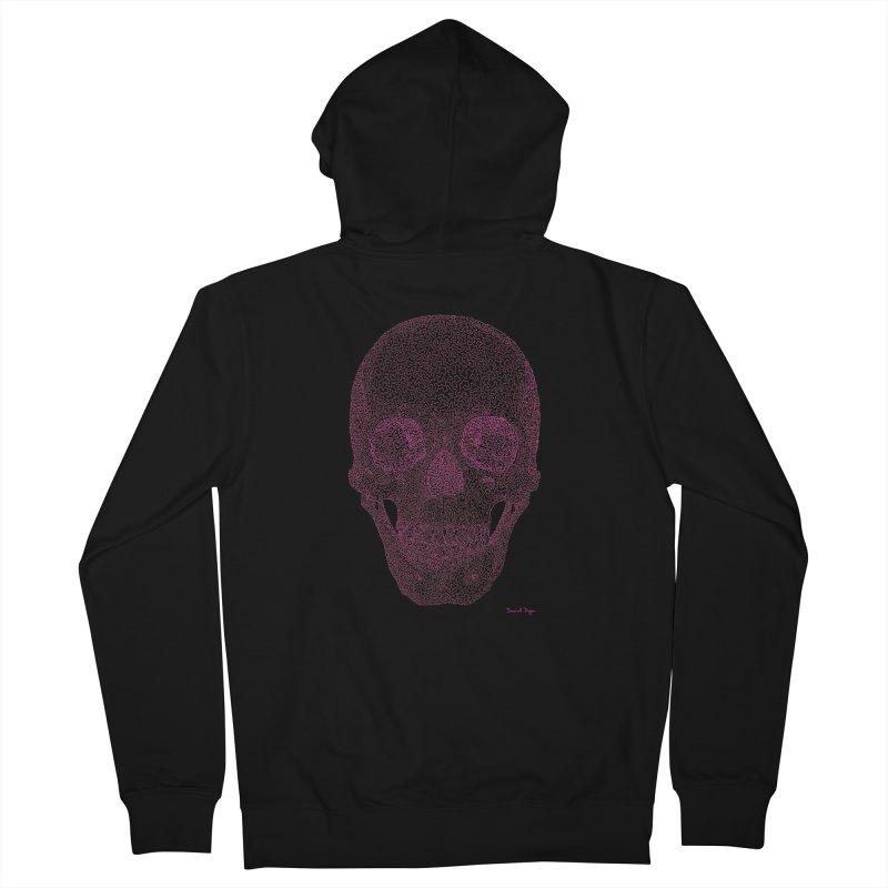Skull PINK - One Continuous Line Men's Zip-Up Hoody by Daniel Dugan's Artist Shop