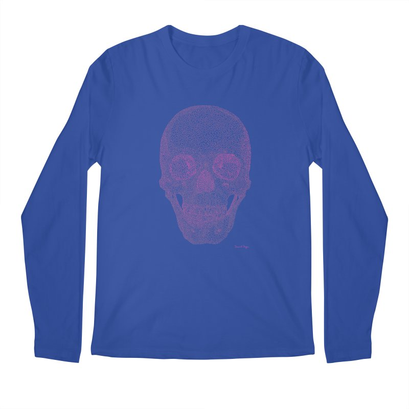 Skull PINK - One Continuous Line Men's Longsleeve T-Shirt by Daniel Dugan's Artist Shop