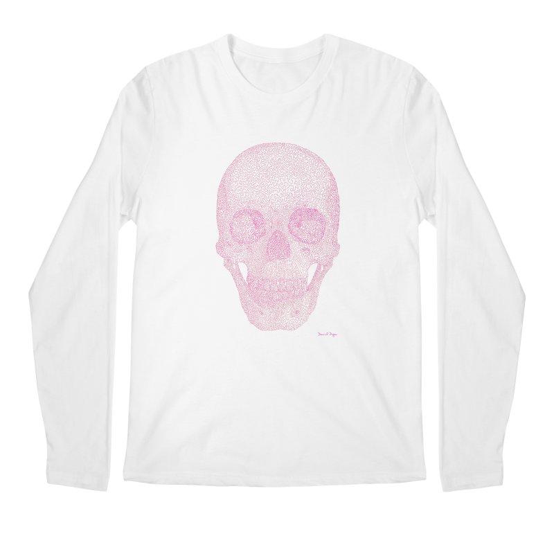 Skull PINK - One Continuous Line Men's Longsleeve T-Shirt by Daniel Dugan's Artist Shop
