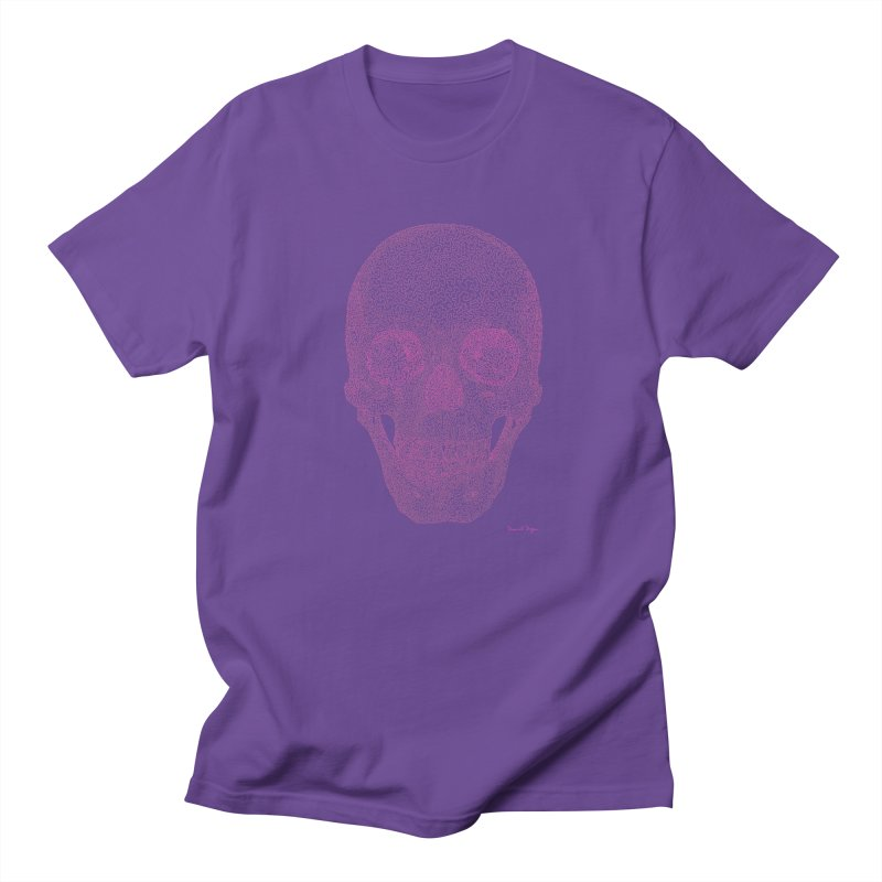 Skull PINK - One Continuous Line Men's Regular T-Shirt by Daniel Dugan's Artist Shop