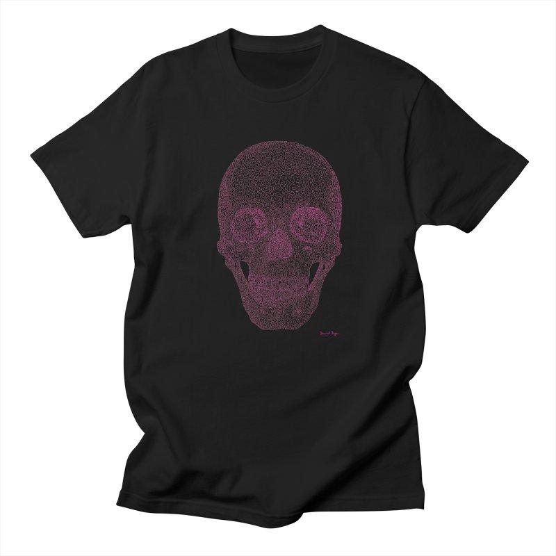 Skull PINK - One Continuous Line Women's Unisex T-Shirt by Daniel Dugan's Artist Shop