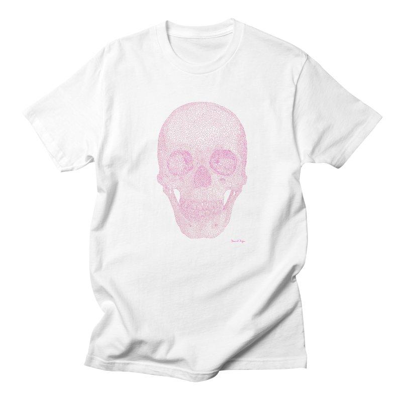 Skull PINK - One Continuous Line Women's Regular Unisex T-Shirt by Daniel Dugan's Artist Shop