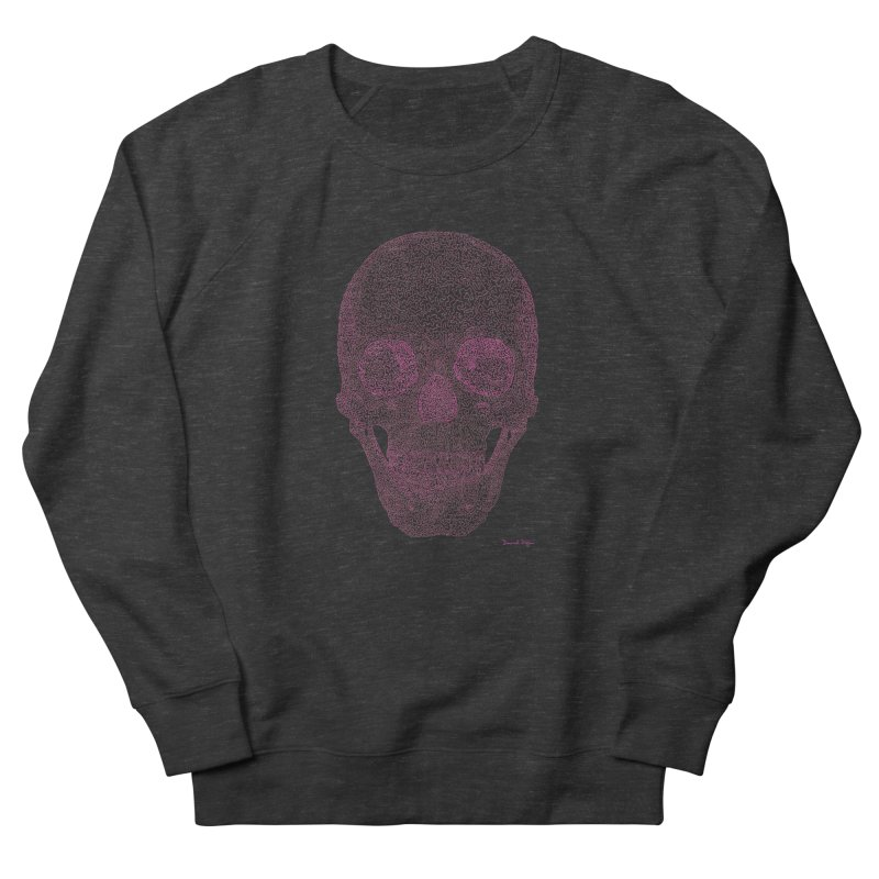 Skull PINK - One Continuous Line Men's French Terry Sweatshirt by Daniel Dugan's Artist Shop