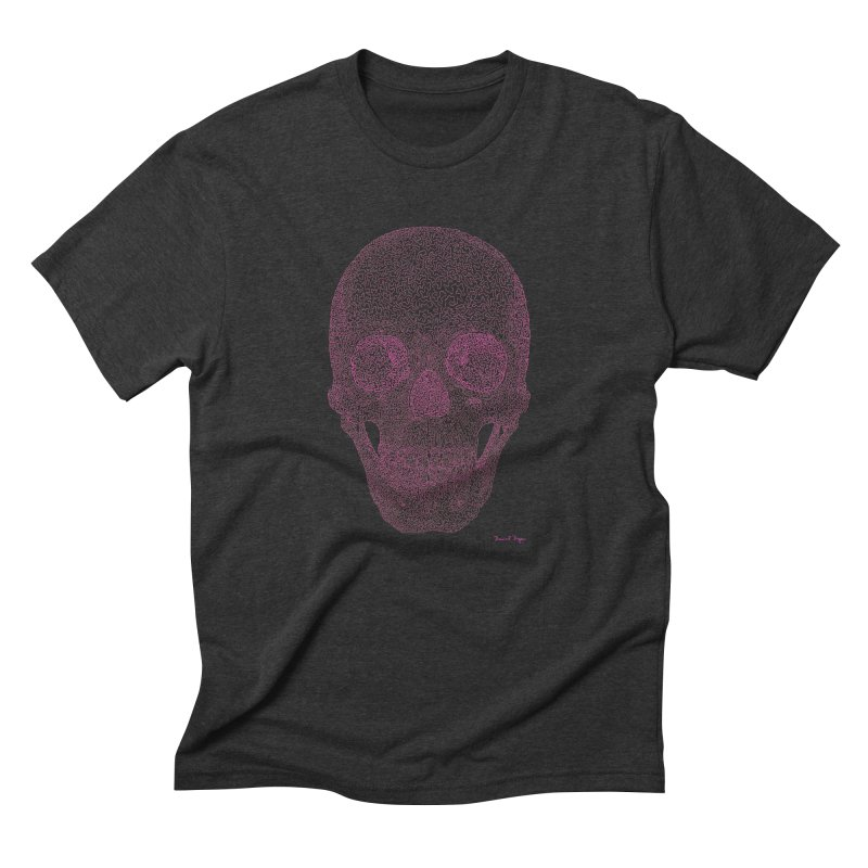 Skull PINK - One Continuous Line Men's Triblend T-Shirt by Daniel Dugan's Artist Shop