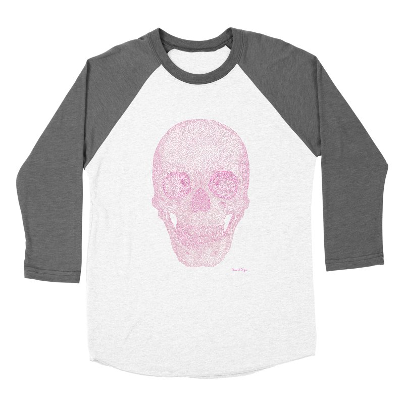 Skull PINK - One Continuous Line Women's Baseball Triblend T-Shirt by Daniel Dugan's Artist Shop