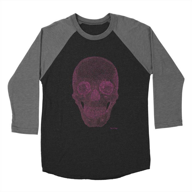 Skull PINK - One Continuous Line Men's Baseball Triblend Longsleeve T-Shirt by Daniel Dugan's Artist Shop