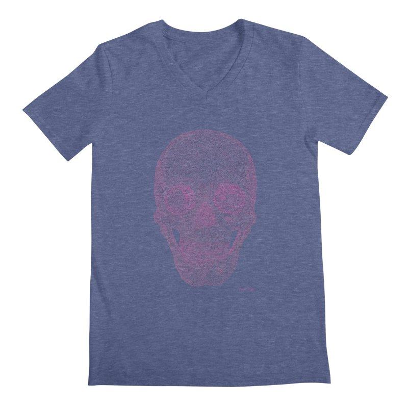 Skull PINK - One Continuous Line Men's V-Neck by Daniel Dugan's Artist Shop