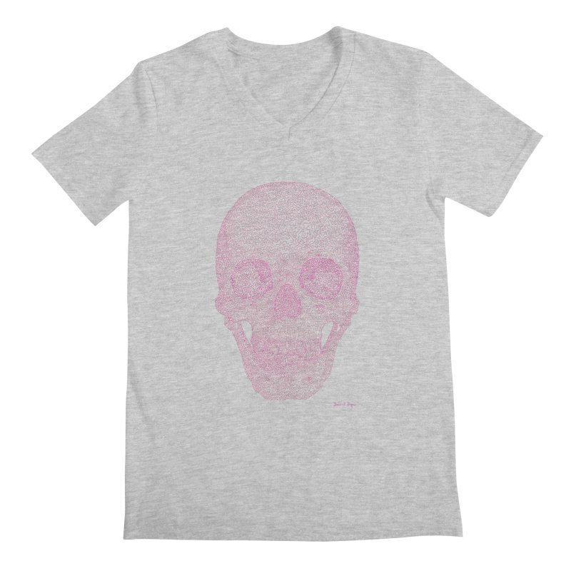 Skull PINK - One Continuous Line Men's V-Neck by Daniel Dugan's Artist Shop