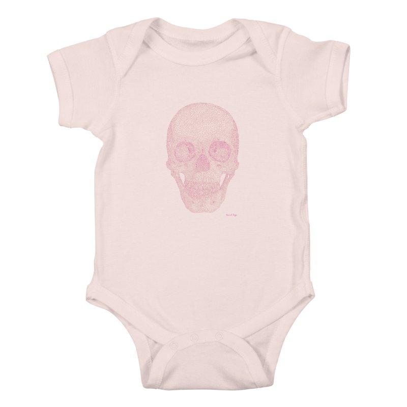 Skull PINK - One Continuous Line Kids Baby Bodysuit by Daniel Dugan's Artist Shop